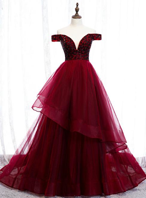 Dark Burgundy Tulle Off the Shoulder Beading Prom Dress