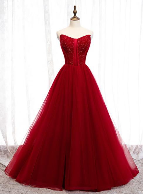Burgundy Tulle Sweetheart Beading Long Prom Dress 2020
