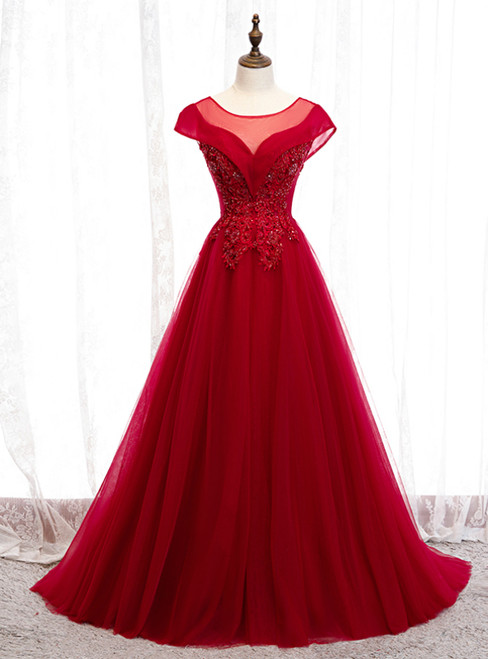 A-Line Burgundy Tulle Cap SLeeve Backless Prom Dress 2020