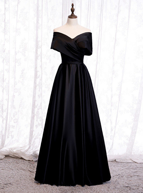 A-Line Black Satin Off the Shoulder Pleats Prom Dress 2020