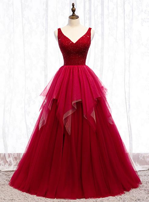 A-Line Burgundy Tulle V-neck Backless Beading Prom Dress 2020
