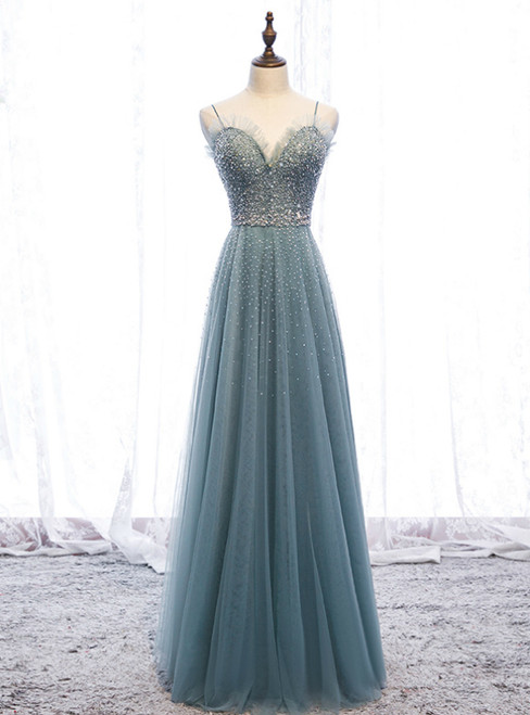 A-Line Green Tulle Spaghetti Straps Beading Prom Dress 2020