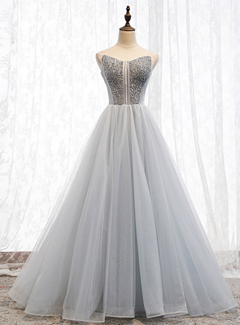 A-Line Gray Tulle Sweetheart Beading Prom Dress 2020