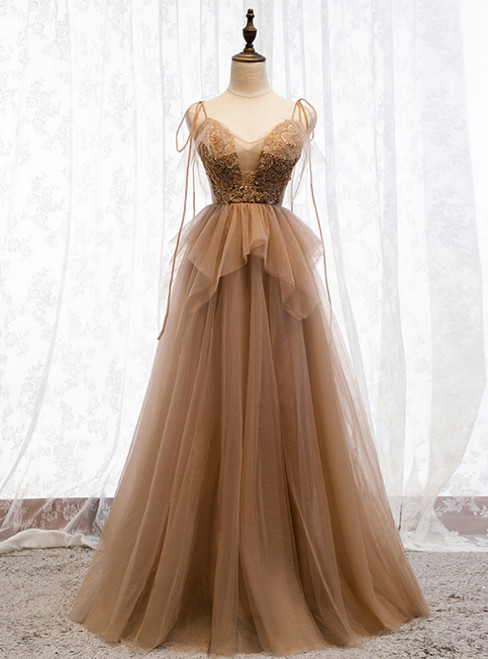 Dark Champagne Tulle Spagehtti Straps Beading Prom Dress 2020