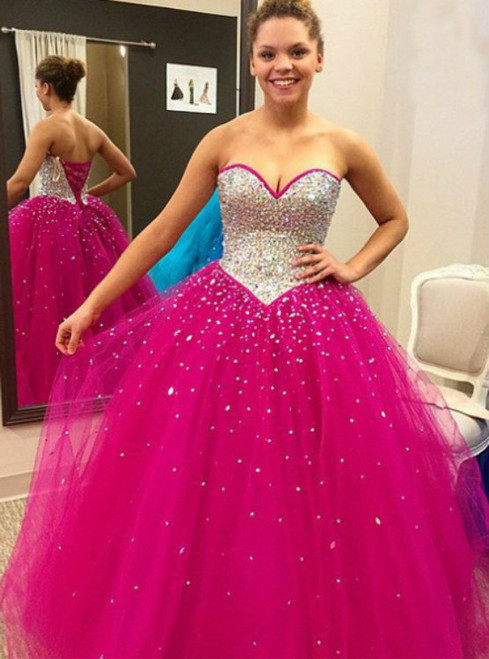 Sweetheart Neck Ball Gown Tulle Crystal Prom Dresses