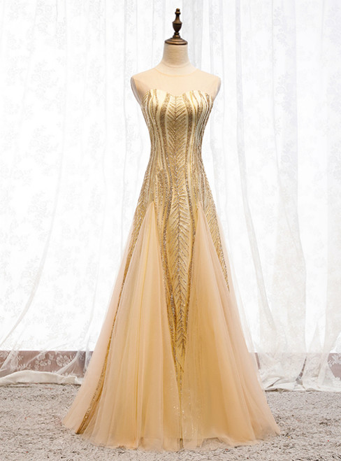 Gold Mermaid Sequins Tulle Sleeveless Prom Dress