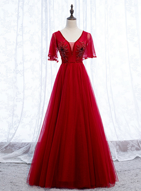 A-Line Sexy Burgundy Tulle V-neck Backless Beading Prom Dress 2020