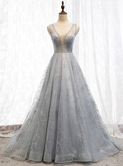 A-Line Silver Gray Tulle Sequins See Through V-neck Backless Prom Dress 2020