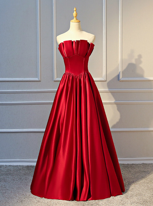 A-Line Burgundy Satin Strapless Pleats Long Prom Dress 2020