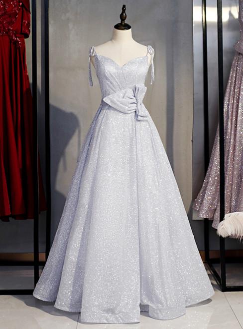 A-Line Silver Seuqins Spaghetti Straps Prom Dress With Bow 2020