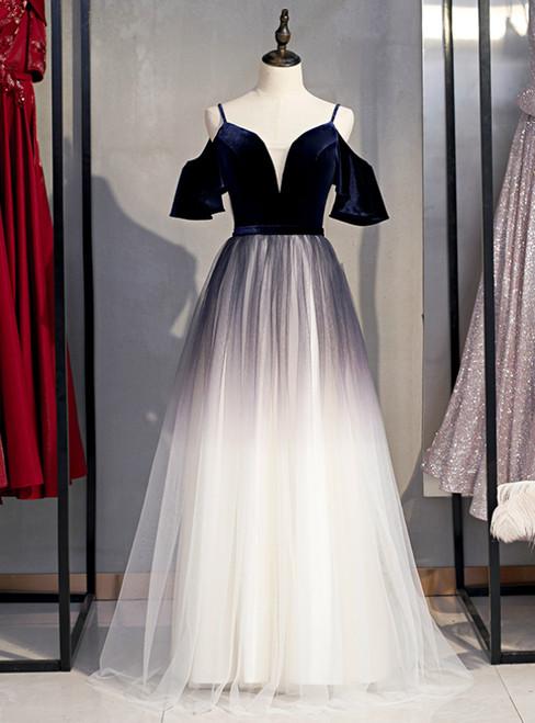 A-Line Blue Velvet Tulle Spagehtti Straps Long Prom Dress 2020