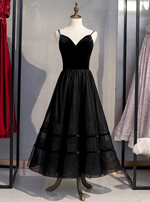 A-Line Black Tulle Spagehtti Straps Tulle Tea Length Prom Dress 2020