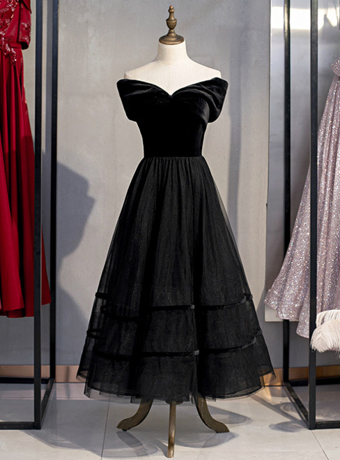 A-Line Black Tulle Velvet Off the Shoulder Tea Length Prom Dress 2020