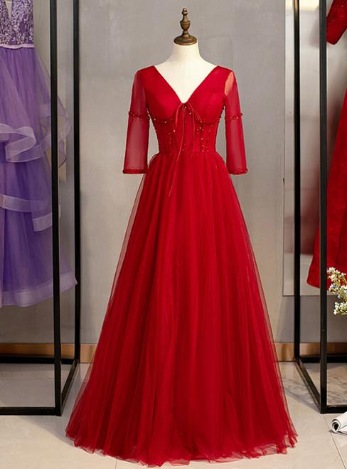 A-Line Burgundy Tulle V-neck Short Sleeve Beading Prom Dress 2020