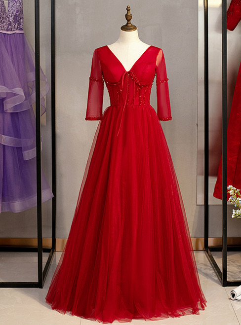 A-Line Burgundy Tulle V-neck Short Sleeve Beading Prom Dress 2020