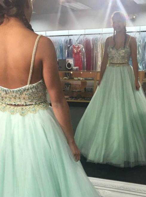Beading Spaghetti Straps Chiffon Prom Dresses 2017
