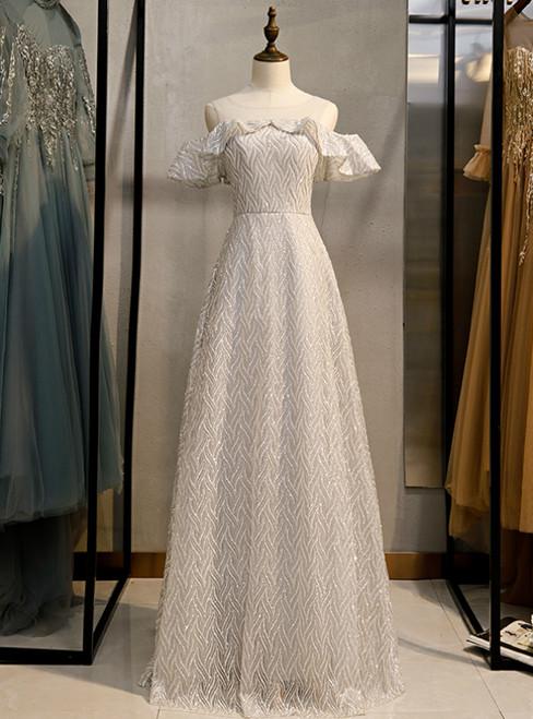 A-Line Silver Sequins Bateau Neck Long Prom Dress 2020