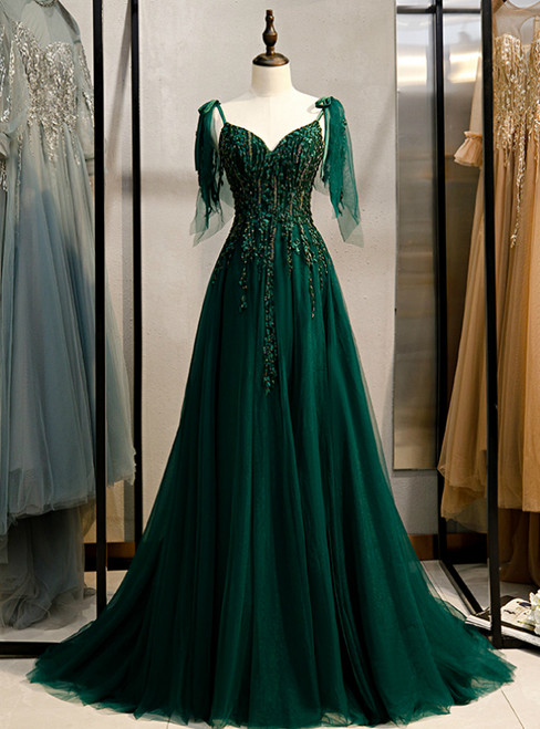 Dark Green Tulle Spaghetti Straps Beading Prom Dress 2020