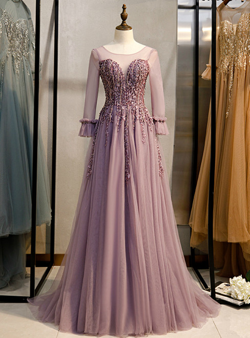 A-line Pink Tulle Long Sleeve Backless Beading Prom Dress 2020