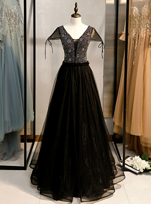 A-Line Black Tulle V-neck Cap Sleeve Beading Prom Dress