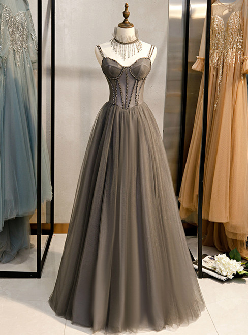 A-Line Gray Tulle Spagehtti Straps Beading Prom Dress 2020