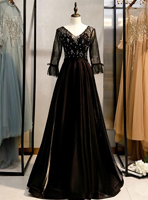 A-Line Black V-neck 3/4 Sleeve Crystal Prom Dress 2020