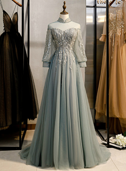 A-Line Gray Tulle Long Sleeve High Neck Backless Beading Prom Dress 2020