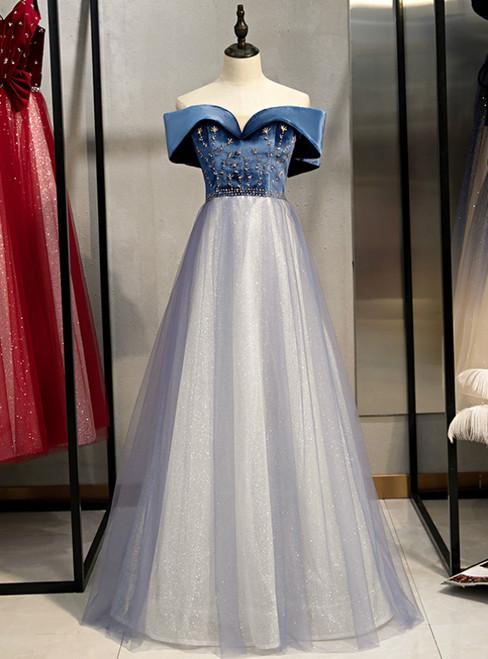 A-Line Blue Tulle Velvet Off the Shoulder Beading Prom Dress 2020