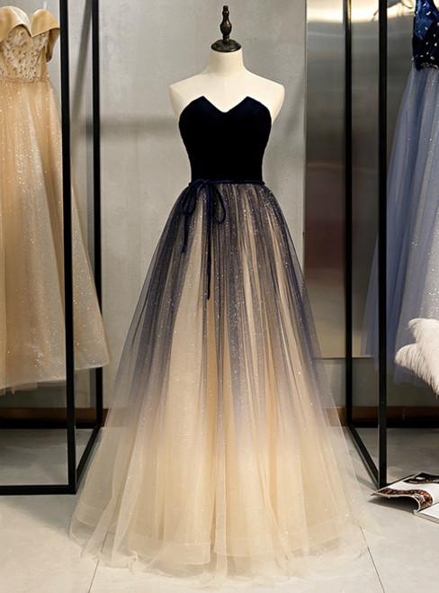 Champagne Tulle And Navy Blue Velvet Strapless Prom Dress 2020