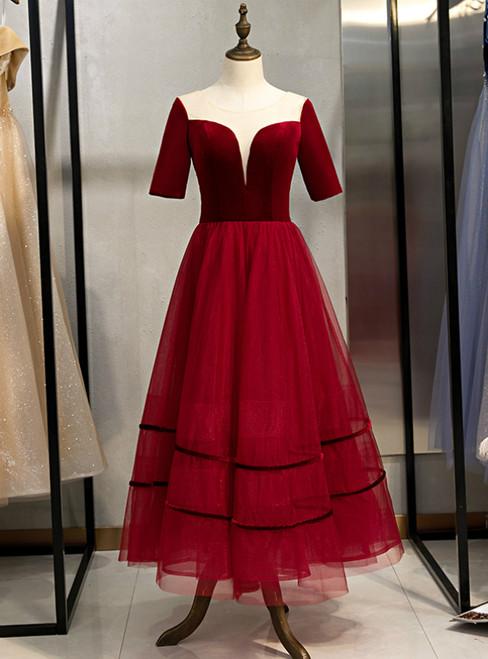 A-Line Burgundy Tulle Short Sleeve Backless Tea Length Prom Dress