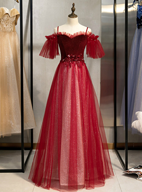 A-Line Burgundy Tulle Spaghetti Straps Appliques Prom Dress 2020