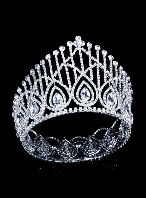 Crystal Rhinestone Full Crown Bride Wedding Tiara Crown Draft Crown