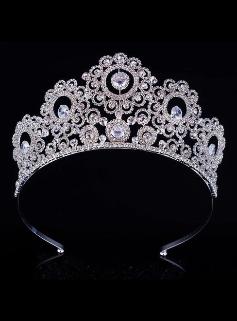 Bride's Silver Headdress Big Diamond Crown Head Crown Hair Accessories