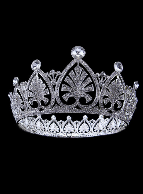 Luxury White Round Luxury Rhinestone Crown