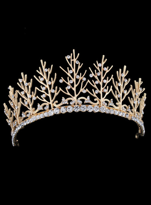 Golden Bride Luxurious Diamond Pearl Crown Headdress