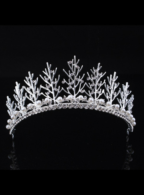 Silver Bride Luxurious Diamond Pearl Crown Headdress