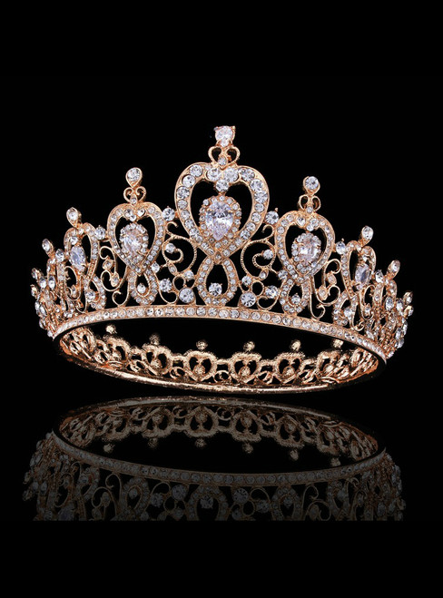 Gold Crown Tiara Bride Inlaid With Crystal Zircon