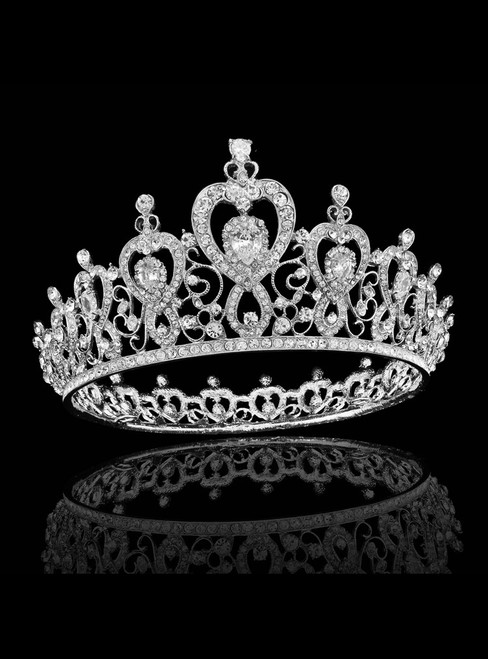 Silver Crown Tiara Bride Inlaid With Crystal Zircon