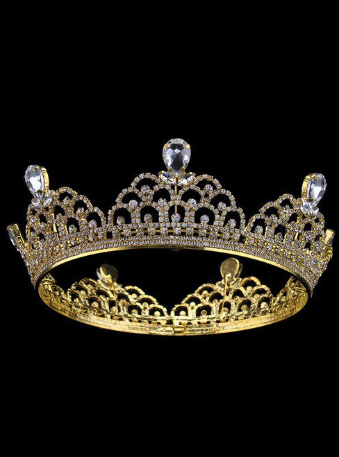 Gold Tiara Alloy Round Crown Bride Accessories