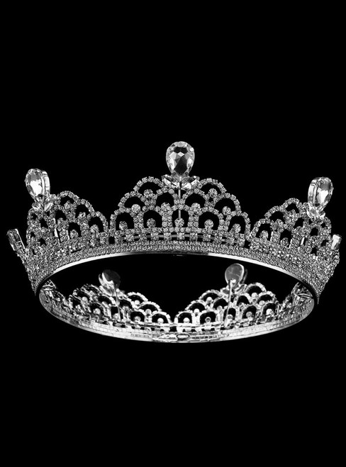 Silver Tiara Alloy Round Crown Bride Accessories