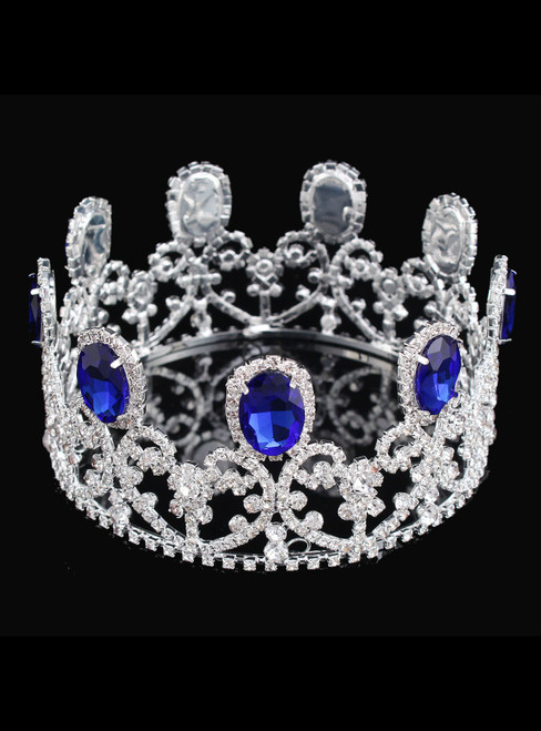 Women Baroque Luxury Full Crown Queen Round Crown Bride Headdress