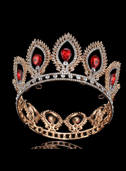 Red Shining Rhinestone Round Crown Bride Ring Crown