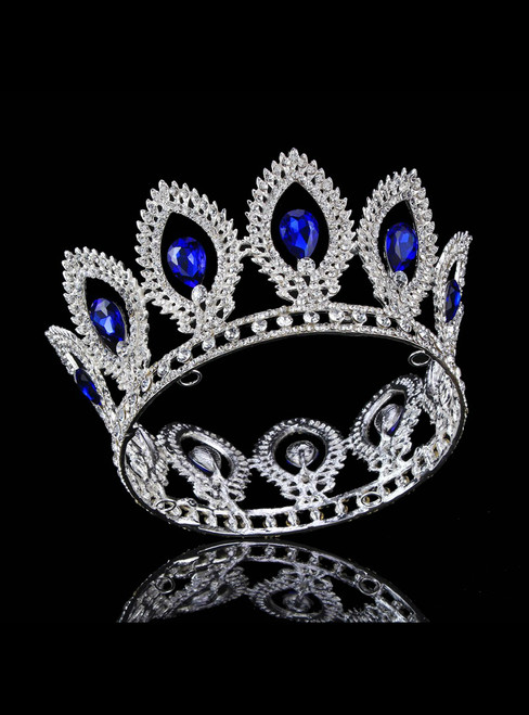 Blue Shining Rhinestone Round Crown Bride Ring Crown