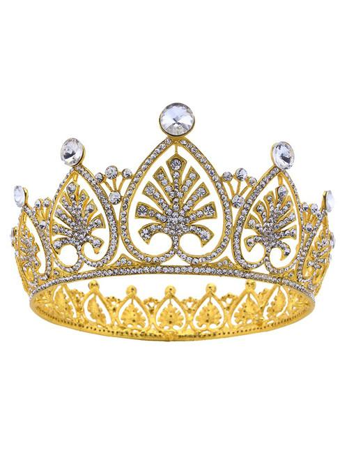Luxury Round Gold Rhinestone Crown Bride Tiara