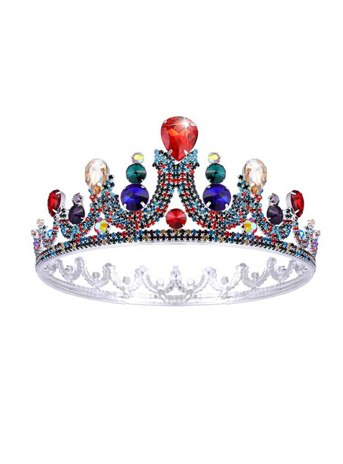 Bride Baroque Colorful Crystal Round Crown Headdress