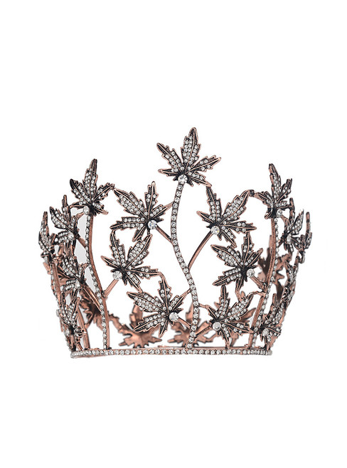 Retro Baroque Crown Leaf Tiara headband