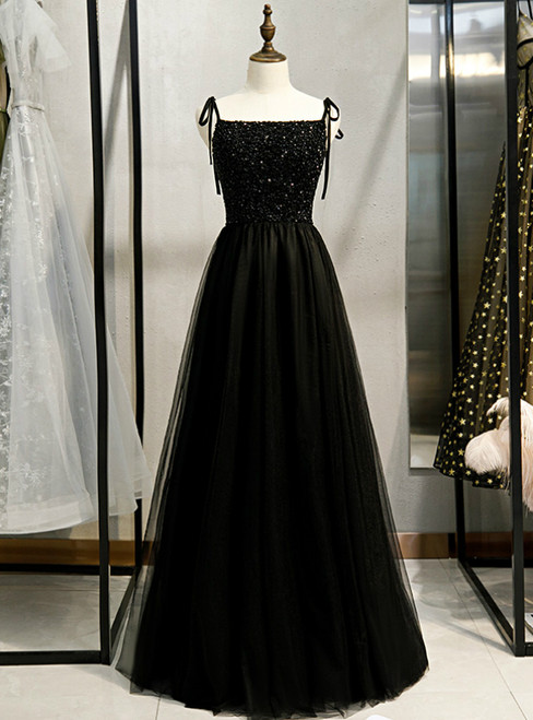 A-Line Black Tulle Spaghetti Straps Tulle Beading Prom Dress 2020