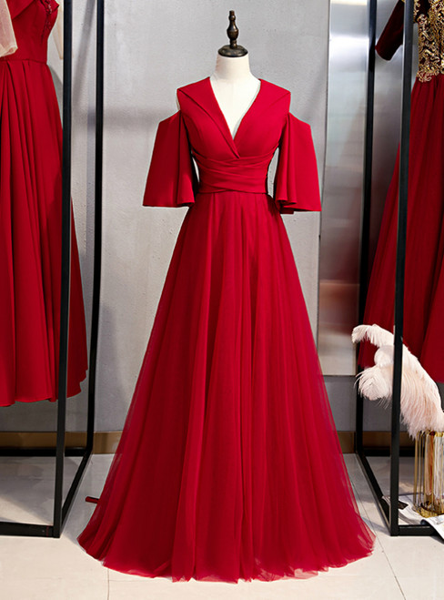 A-Line Burgundy Tulle Deep V-neck Prom Dress 2020