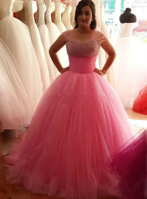 Pink Ball Gowns Prom Dresses Beauty Quinceanera Dresses Long Prom Dresses
