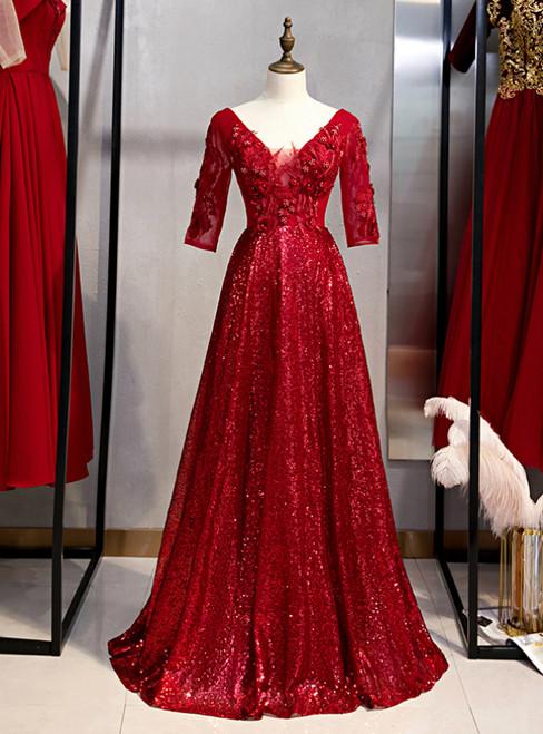 Burgundy Sequins V-neck Short Sleeve Appliques Prom Dress 2020